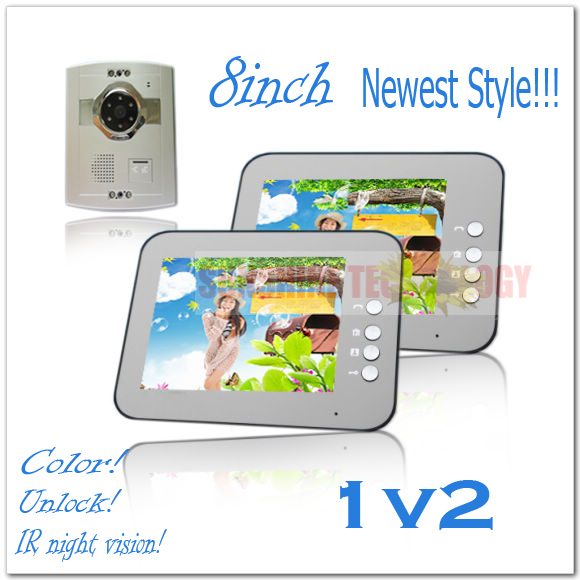 Newest style 8inch color video door phones intercom systems (Unlock,Handsfree,Night vision) 2 indoor units + 1 outdoor unit(China (Mainland))