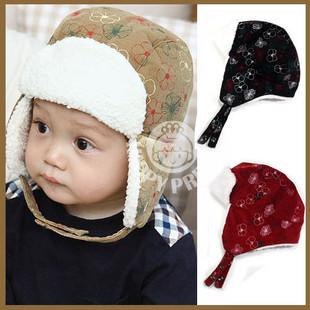 Free Shipping Winter baby 2988 lei feng cap child insulation cap baby earmuffs winter hat decorative pattern plush hat(China (Mainland))