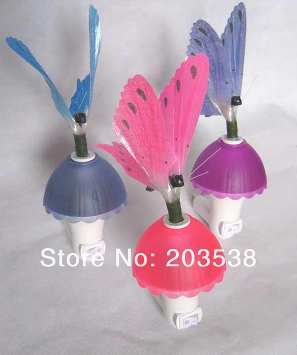 最高の贈り物常夜灯光ファイバーカラフルな蝶の夜の光ledの色の変化ランプ... 最高の贈り物常夜