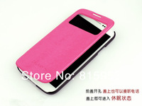free shipping flip cover stand leather case with Sleep function for samsung Galaxy S4 i9500 Easy-Using window design/ lots