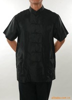 "2013 New Black Chinese tradition style Men's Silk satin shirt Kung-Fu Coat T-shirt S/M/L/XL/XXL/XXXL "" WNSMshirt-6 """