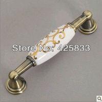 96mm Zinc Alloy Ceramic Bronze Cabinet Drawer  Pull Knob Handle