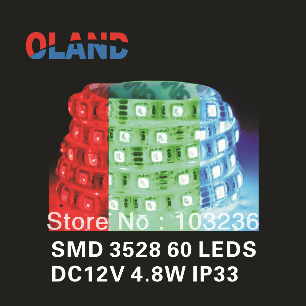 Non-Waterproof IP33 Flexible SMD RGB LED Strip 3528 -60LEDS/M -5M/ROLL-CE/ROHS-Certification(China (Mainland))