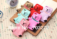 Free dropshipping up to 30%off, 3D Teddy Cute Bear silicon cover cases for iPhone 4 4G 4S 1pcs/lot