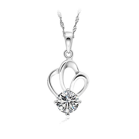 925 pure silver necklace female pendant diamond silver jewelry hearts and arrows(China (Mainland))