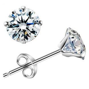 Fashion brief hearts and arrows , startlingly stud earring artificial diamond 925 pure silver(China (Mainland))