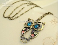 Tri-color diamond inlaid hollow carved owl necklace Fashion Jewelry Sweater chain Free Shipping