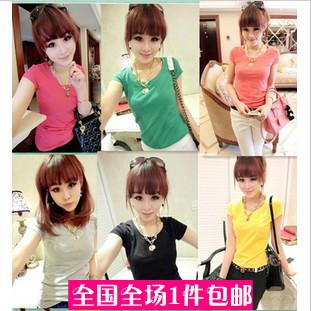 2014 Time-limited Sale Roupas Femininas Clothes Juniors Clothing Sisters Equipment Slim All-match Basic Short-sleeve T-shirt(China (Mainland))