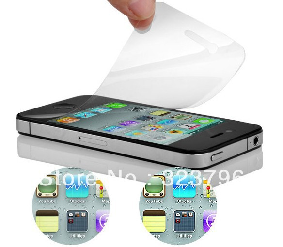 Wholesale - 1000pcs/lot clear screen protector LCD film guard for iphone 4 4G 4S no retail package front + back Fedex shipping(China (Mainland))