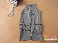 Solid color medium-long V-neck female cardigan vest small cape 5 y1007