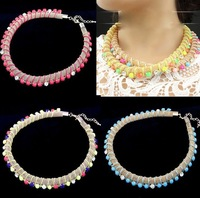 European and American fashion metal fluorescence color gem establishment temperament brief paragraph necklace, necklace