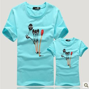 2013 summer love color balloons and couples dress short-sleeved T-shirt