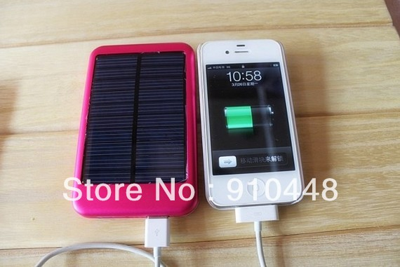 Free shipping 5000MAH Solar Battery Panel Charger Mobile Power bank External Battery Charger for iPhone(China (Mainland))