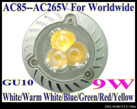 9W High power led lamp 10pcs/lot GU10 base LED lamp LED bulbs AC85V--AC265V light LS51