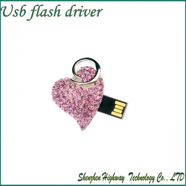 New arrive 4GB 8GB 16GB 32GB Pink Heart Diamond Jewelry USB 2.0 Flash Memory Drive(China (Mainland))