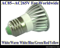 3W LED E27 base High power led spotlight 1pcs/lot LED bulbs AC85V--AC265V light LS51