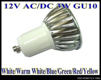 3w LED LAMAP WHITE/WARM WHITE 12V AC/DC 10pcs/lot LED bulbs GU10 base LED lamps 6colors for choice LS50