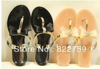 Free shipping  2013 female flip slippers bow flip flops casual flat slippers