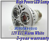 E27 Warm White 3W High Power led spot lighting lamp LED bulb spot lights AC/DC 12V