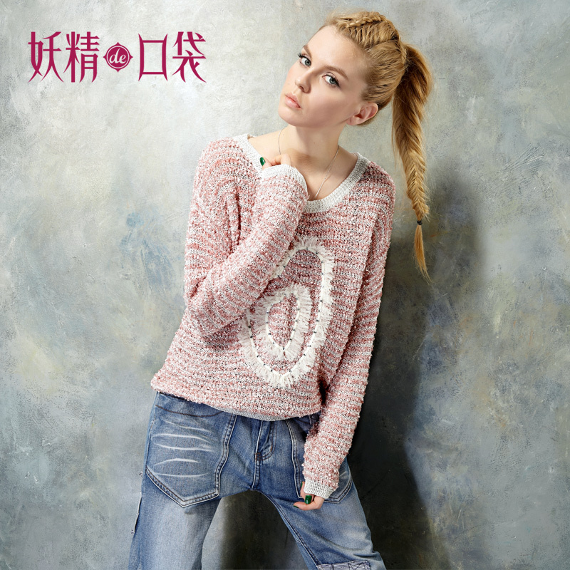 free shipping Elf SACK bird spring vintage stereo yarn sweet sweater(China (Mainland))