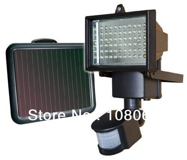 60LED 60 Leds Solar sensor light / Motion Light / security light with Infrared motion detector adjustable Free shipping(China (Mainland))