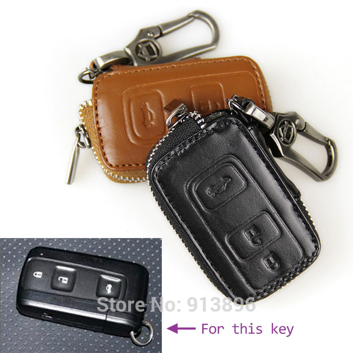Leather car key fob cover for New Toyota Crown+ Prius smart key holder case shell rings key wallet/bag remote(China (Mainland))