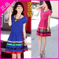 2013 female summer national trend lacing slim waist o-neck short-sleeve chiffon one-piece dress necklace