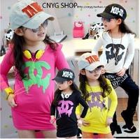 2013 100% girls clothing cotton loop pile slim waist one-piece dress child baby long design bag t-shirt basic shirt