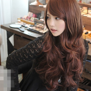FREE P&P>>>>> Wig female curly hair fluffy long curly hair oblique bangs wig girls long curls pear(China (Mainland))