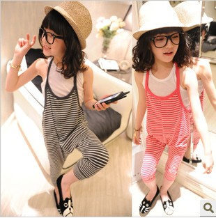 1714 children's clothing female child large p suspenders stripe pants spaghetti strap harem pants(China (Mainland))