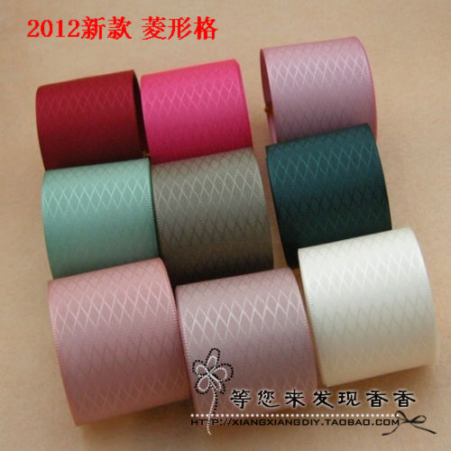 free shipping 2012 popular dimond plaid solid color 22-38mm rib knitting 9 diy ribbon bow(China (Mainland))