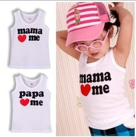 8pcs/lot Baby Clothes papa love me mama love me baby shirt/T-Shirt boy & girl short shirt Tees infant vest baby summer wear