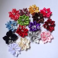 40pcs Lots  Colors W/stone satin ribbon flowers sewingappliques craft DIY wedding