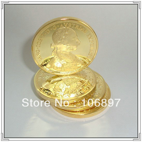NON-Magnetic 20pieces / lot Austrian 1915 Four Ducats Franz Joseph I Gold clad Brass core Replica Souvenir coins(Hong Kong)