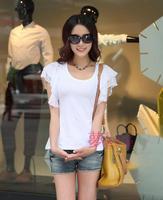 2013 new summer Korean Women Fashion Slim primer shirt round neck lotus leaf sleeve shirt small shirt short-sleeved t-shirt