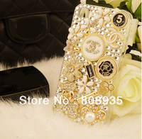 Hot Sell 3D flower bear handbag Hairpin Bling Diamond Crystal case for iphone 5 5G Free shipping retail package