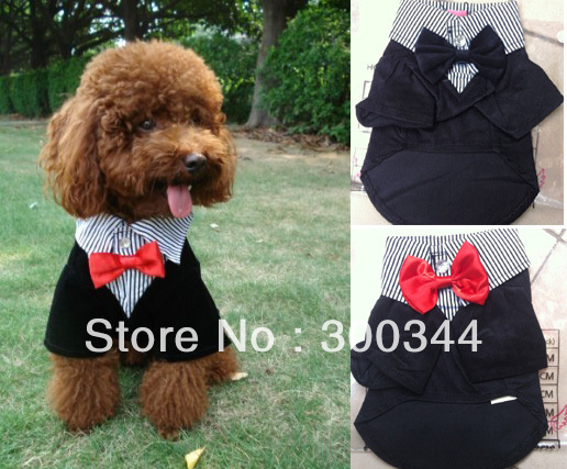 6 pieces/ lot Small Pet Dog Clothes Western Style Men's Suit & Bow Tie Puppy Costume Apparel(China (Mainland))