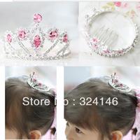 cheap 6 pcs/lot diameter 4.5cm wholesale Children's rose red rhinestone Tiara round hair comb Crown Silver hair comb