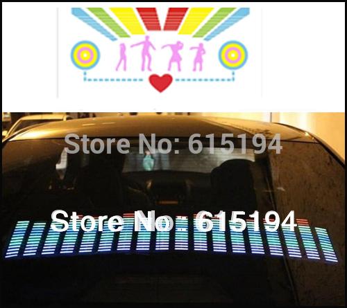 O envio gratuito de 50 CM * 30 CM Car música Rhythm lâmpada Led Auto Sound música Activated Equalizer brilho Flash Kit luz etiqueta Subwoofer(China (Mainland))