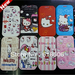 Hot Sale Hello Kitty cartoon PU leather case cover for Samsung Galaxy S4 i9500(China (Mainland))