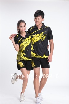 Wholesale Chinese dragon table tennis outfit suits (shirt+shorts)