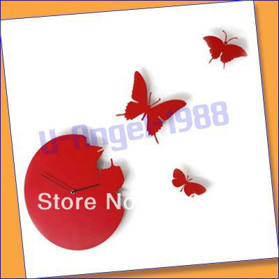 free fedex.butterfly wall clock/High quality wall clock/Decorative DIY Home decoration +register free shipping(China (Mainland))