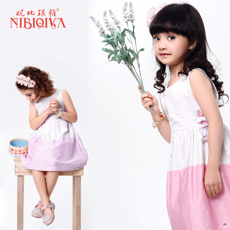 2013 children's summer clothing female child 100% cotton gentlewomen princess dress vest one-piece dress suspender skirt child(China (Mainland))