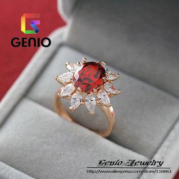 GN R216 Italina18K позолоченный кристалл + рубиновое кольцо бежевый Сделано с натуральными кристаллами SWA ЭЛЕМЕНТЫ Австрия