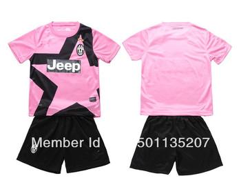 12-13 Season Juventus Away pink color Five-pointed star children soccer jersey