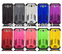 Wholesale 100pcs/lot New Fashion Combo Hard PC+ Black Rubber Silicone Hybrid Hard Back Cover Case For Samsung i9300 S3 Galaxy