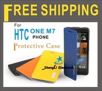 2013 Newest Hot Sell High Quality Elegant series Side Flip PU Leather Cover Phone Protection Case For HTC One M7+Free Shipping