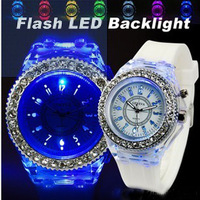 Free Shipping  2013 NEW Geneva Popular Silicone Quartz Unisex Jelly Wrist Watch with LED lights,watch wholesale