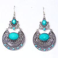 CCE193 European Designer Popular Vintage Crystal Palace Carved Hollow Boho Earrings