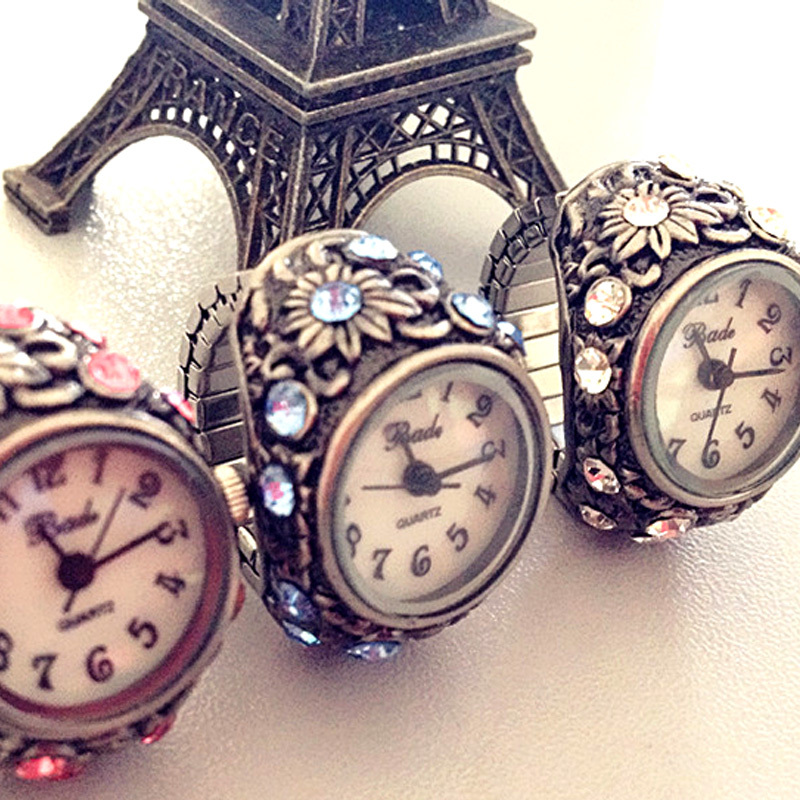 Bade fashion vintage noble rhinestone finger table ring watch women's watch cutout quality(China (Mainland))